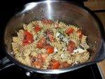 Pasta with Avocado, Basil, Tomato and Turkey