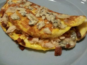 Bacon and Blue Cheese Omelet with Turkey